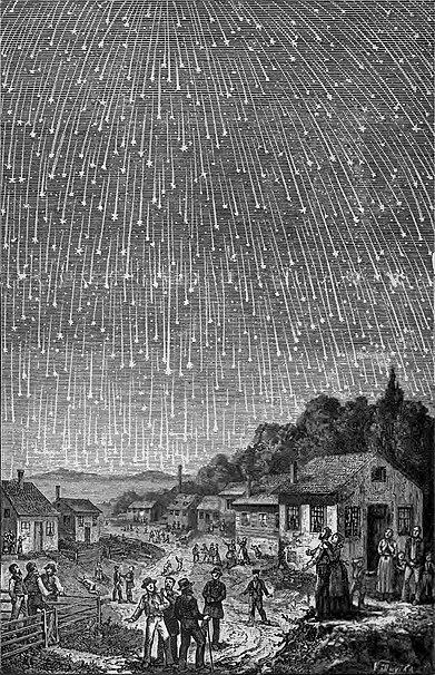 Leoniderna år 1833 gav mycket spektakulära stjärnfall.