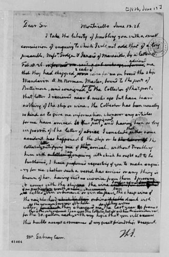 Dabney Carr - Letter from Thomas Jefferson to Dabney Carr, 1826. Library of Congress