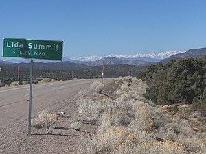 Lida, Nevada - Lida Summit, looking west to the Sierra Nevada