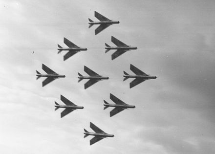 Nine Lightning F.1s of No.74 Squadron display at the 1961 SBAC show, Farnborough - English Electric Lightning