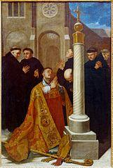 Saint Lambert en prière au pied de la Croix de l'abbaye de Stavelot