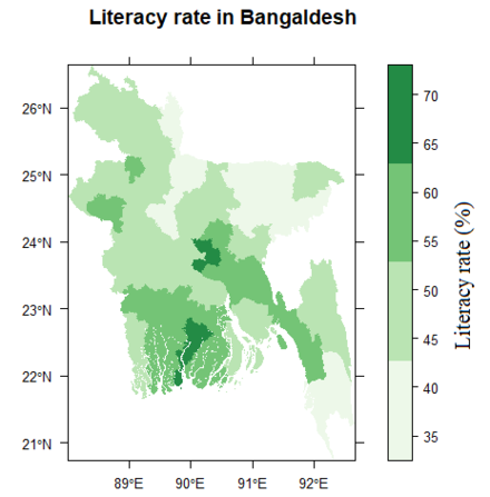 Literacy rates in Bangladesh districts Literacy rate Bangladesh.png
