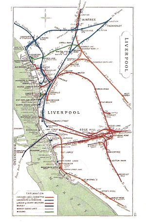 Liverpool Central railway station - A 1909 Railway Clearing House Junction Diagram showing railways in the vicinity of Liverpool Central – low level station (Mersey Railway) in purple; high level station (Cheshire Lines) in orange