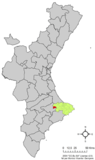 Location of Vall de Alcalá within the Comunidad Valenciana