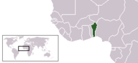 A map showing the location of Benin