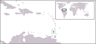 A map showing the location of Grenada