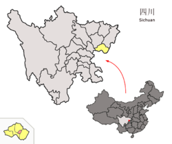 Location of Huaying City (red) in Guang'an City (yellow) and Sichuan