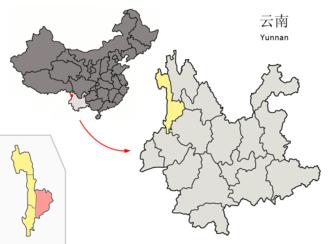 Lanping Bai and Pumi Autonomous County - Image: Location of Lanping within Yunnan (China)