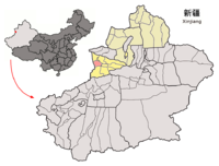 Location of Qapqal within Xinjiang (China).png