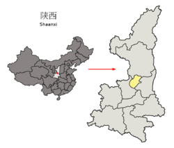 Location of Tongchuan Prefecture within Shaanxi