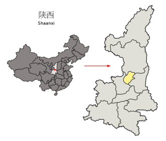 Tongchuan - Image: Location of Tongchuan Prefecture within Shaanxi (China)