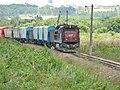 Locomotiva tracionando de ré no final do comboio que passava sentido Guaianã pelo pátio da Estação Pimenta em Indaiatuba - Variante Boa Vista-Guaianã km 216 - panoramio.jpg