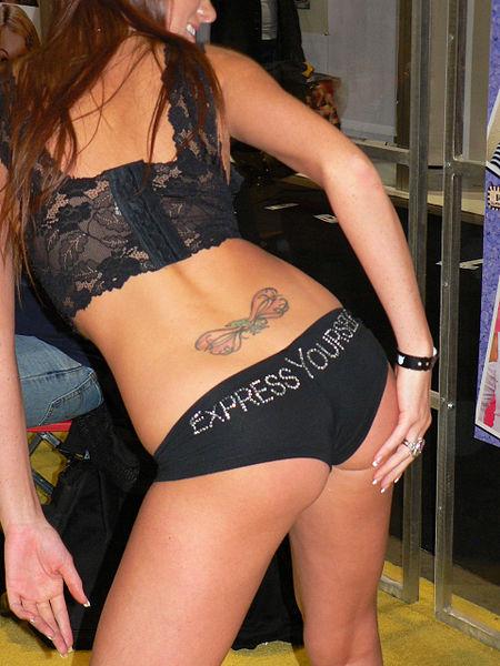 woman tattoo lower back