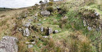 Economy of Devon - The remains of a Dartmoor blowing house, showing the furnace and mouldstone