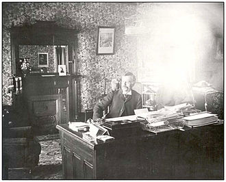 Lieutenant Governor of Saskatchewan - Lieutenant Governor Amédée E. Forget in his office at Government House, 1898