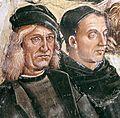 Luca signorelli, cappella di san brizio, predica e punizione dell'anticristo 03 signorelli e angelico.jpg