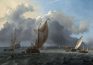 Ships in a Gale on the IJ before the City ofAmsterdam