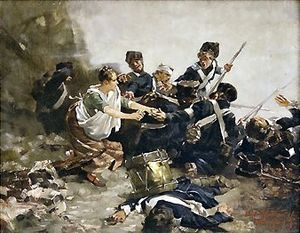 Ludwig von Herterich - Ludwig Herterich: Johanna Stegen, the Heroine of Lüneburg (scene from the Napoleonic Wars), 1887