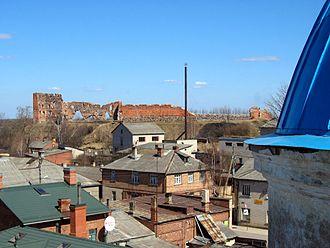 Ludza - View of Ludza Castle ruins from Orthodox Church