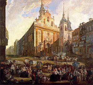 Obregonian Brothers - The motherhouse of the Poor Brothers Infirmarians on the right, on the Puerta del Sol in Madrid, by Luis Paret y Alcázar (1773)