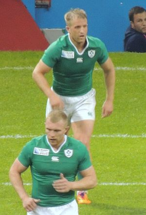 Luke Fitzgerald - Fitzgerald (with Keith Earls in the foreground) playing for Ireland during the 2015 Rugby World Cup