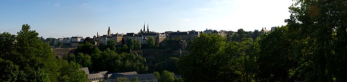 Panoramic view of Luxembourg city seen from the other side of the valley at Kirchberg