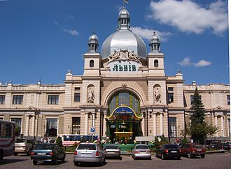 Lviv railway station - The Lviv railway station is one of the most notable pieces of Art Nouveau architecture in former Galicia.
