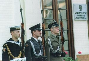 Ministries of Poland - An honour guard representing the Polish Armed Forces in front of the Ministry of National Defence.