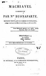 Napoleon: Machiavel commenté par Napoléon Buonaparte