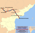 Machilipatnam Express (MTM - BIDR) Route map.png