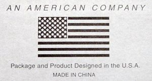 Country of origin - Country of origin label for a product designed in the United States, but manufactured in China.