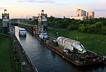 Maestro Rechnoy-63 and 7289 in the Moscow Canal Lock 8 KiM Moscow 22 June 2011.jpg