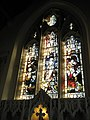 Magnificent stained glass windows above the altar at St Andrew's Meonstoke - geograph.org.uk - 1123497.jpg