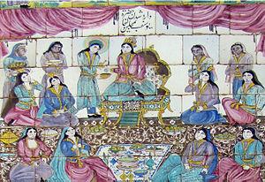 Zuleikha (tradition) - Zuleika Ceremony Islamic art painting on tiles of Mo'avin-Almamalik tekyeh, Kermanshah