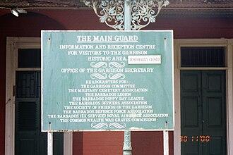 Garrison Historic Area - Image: Main Guardhouse Garrison area (sign), Barbados