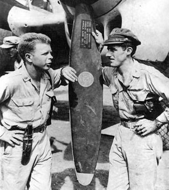 "Thomas McGuire - The top two American aces of World War II: Majors Richard Bong (left) and ""Tommy"" McGuire (right) in November 1944"