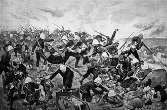 Battle of Majuba Hill - The Battle of Majuba, drawn by Richard Caton Woodville for the Illustrated London News