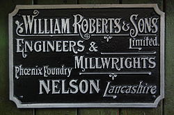 Makers plate, William Roberts & Sons, Queen Street Mill.JPG
