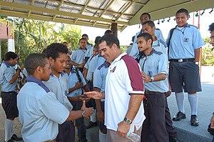 Mal Meninga - Mal Meninga meeting school students in Vanuatu in 2005.