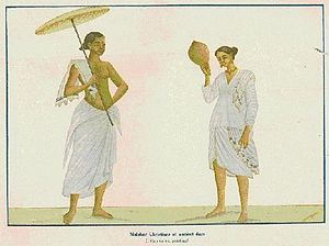 Mundu - Nasranis or Syrian Christians of Kerala wearing mundu (from an old painting). Photo published in the Cochin Government Royal War Efforts Souvenir in 1938.