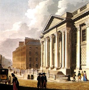 "City Hall, Dublin - 18th Century view of the Royal Exchange; one of ""Malton's views of Dublin"""