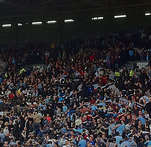 The Poznań - Manchester City fans doing The Poznań.