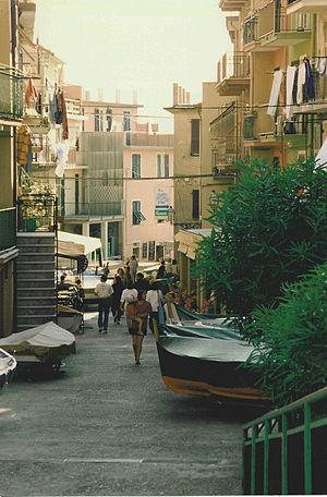 Main street of Manarola in the Cinque Terre, L...