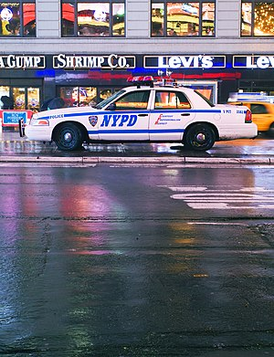 A N.Y.P.D. Crown Victoria parked on Times Square in New York City, United States of America.
