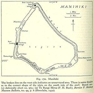 Tauhunu - Map of Manihiki Atoll