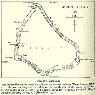 Manihiki - Map of Manihiki Atoll