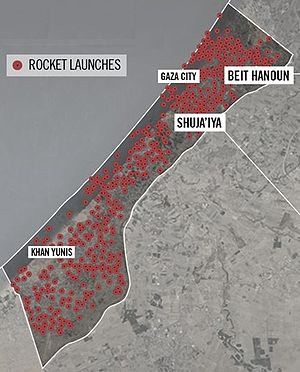 Timeline of the 2014 Israel–Gaza conflict - IDF-released map of rocket launch sites in Gaza