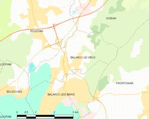 Balaruc-le-Vieux - Map