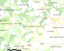 Mapa obce Saint-Privat-du-Dragon