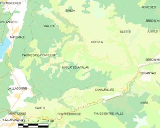 Ayguatébia-Talau - Map of Ayguatébia-Talau and its surrounding communes